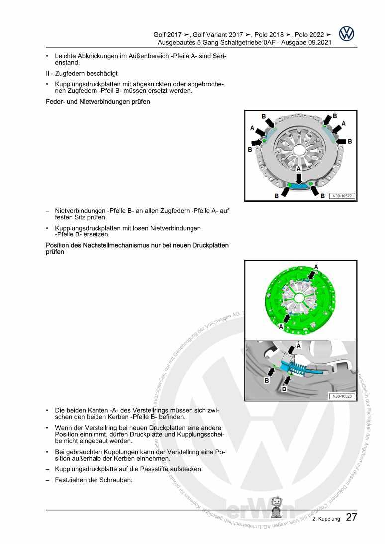 Beispielseite für Reparaturanleitung Ausgebautes 5 Gang Schaltgetriebe 0AF