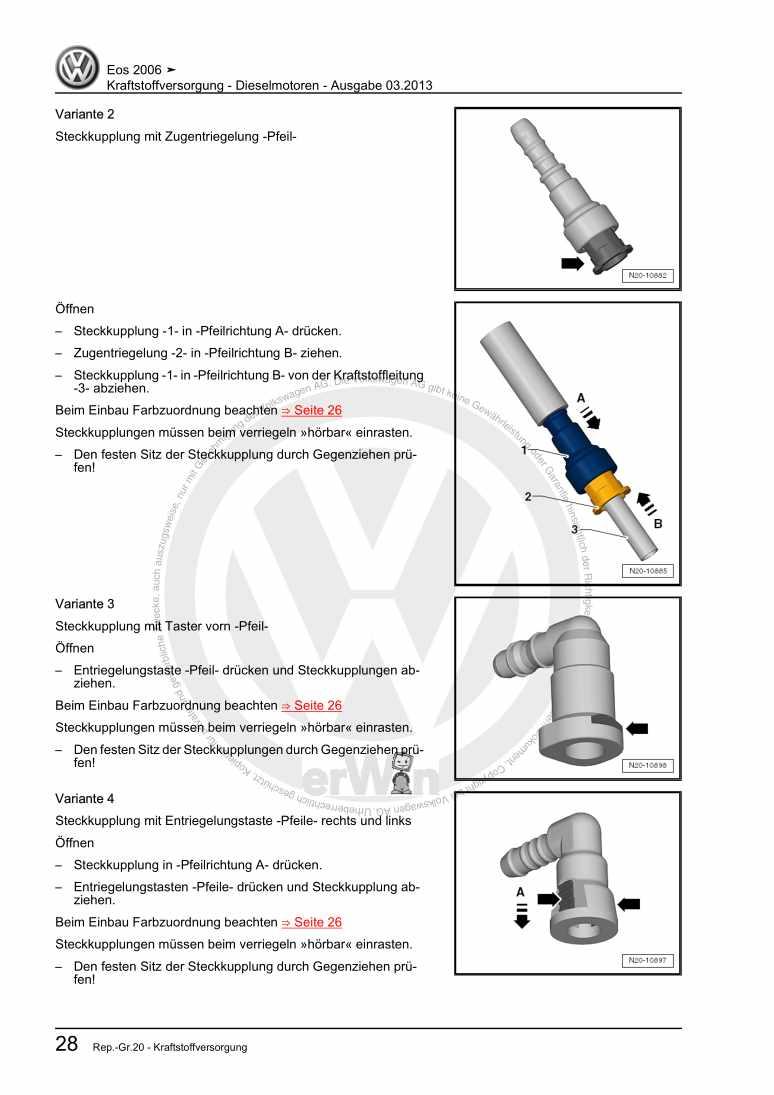 Beispielseite für Reparaturanleitung Kraftstoffversorgung - Dieselmotoren