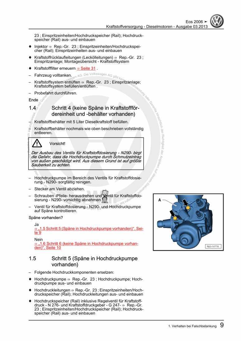 Beispielseite 2 für Reparaturanleitung Kraftstoffversorgung - Dieselmotoren