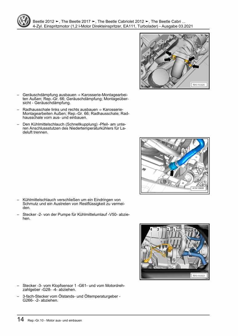 Beispielseite für Reparaturanleitung 4-Zyl. Einspritzmotor (1,2 l-Motor Direkteinspritzer, EA111, Turbolader)