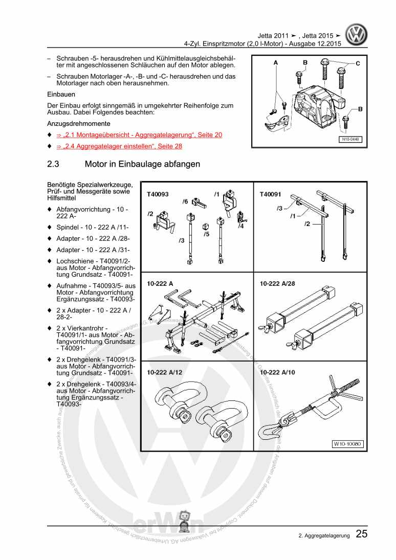 Beispielseite für Reparaturanleitung 4-Zyl. Einspritzmotor (2,0 l-Motor)