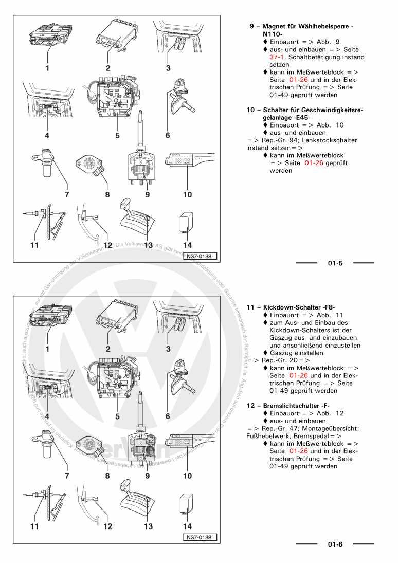 Beispielseite für Reparaturanleitung Automatisches Getriebe 096 APB APC CBY CFA CFB CFC CFF CFH
