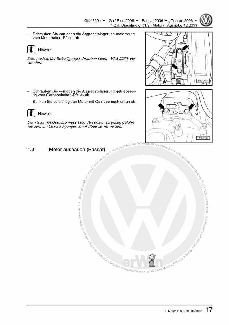 Beispielseite für Reparaturanleitung 4-Zyl. Dieselmotor (1,9 l-Motor)