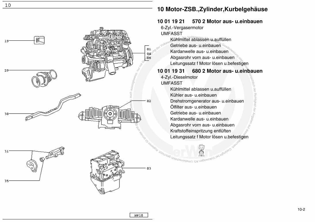 Beispielseite für Reparaturanleitung Typ 10 = VW LT Modell 1983 - 1996