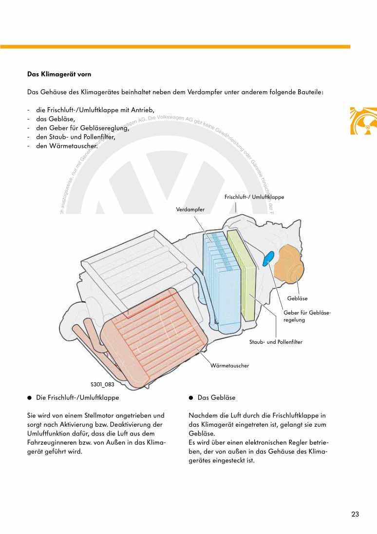 Beispielseite für Reparaturanleitung Nr. 301: Der Touareg - Heizung und Klimaanlage