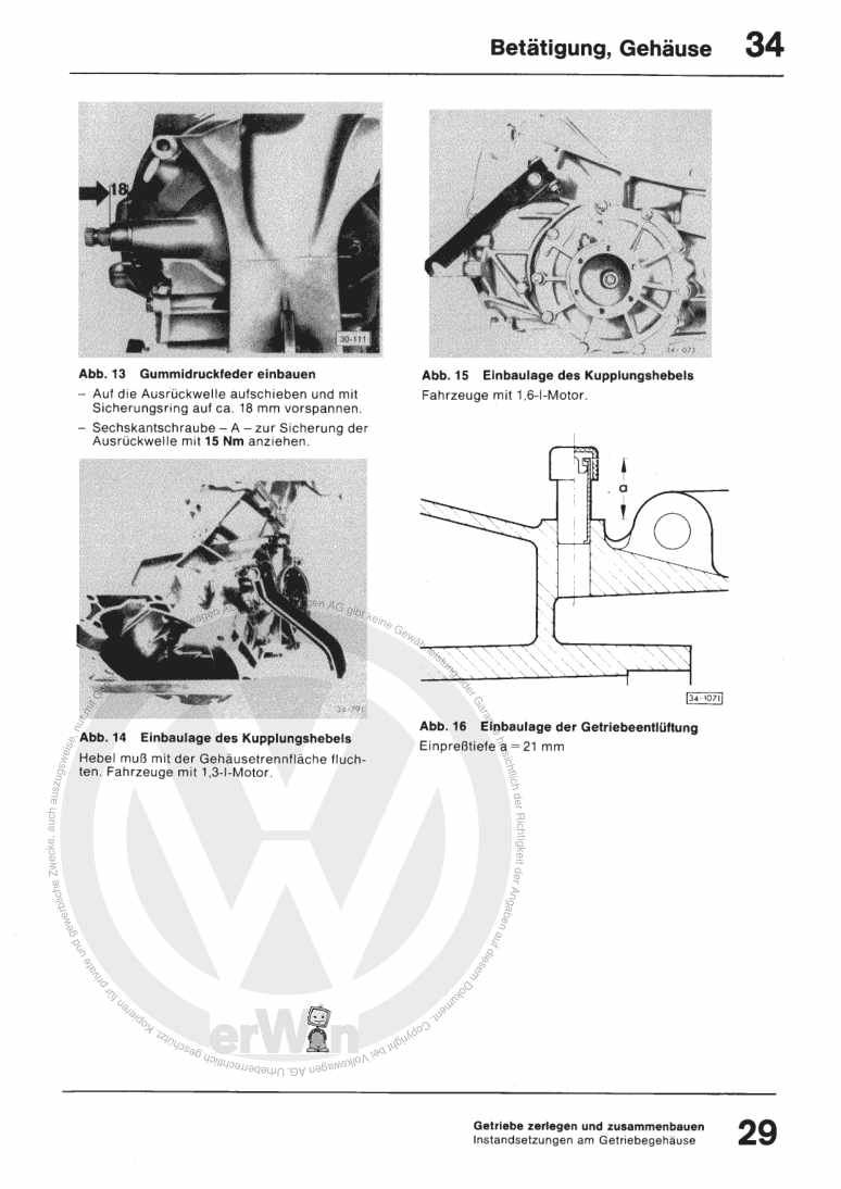Beispielseite für Reparaturanleitung 4-Gang-Schaltgetriebe 014/I