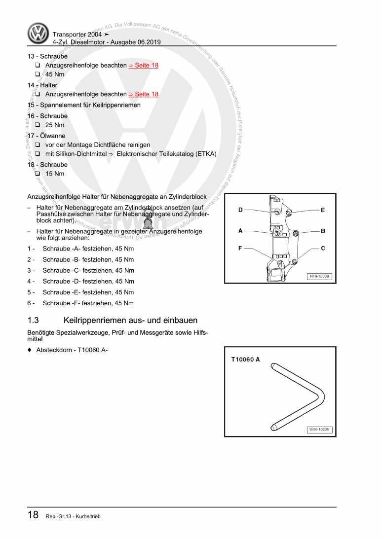 Beispielseite für Reparaturanleitung 4-Zyl. Dieselmotor