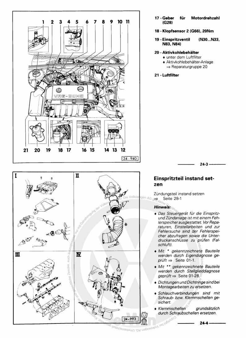 Beispielseite für Reparaturanleitung Motronic Einspritz- und Zündanlage ABV