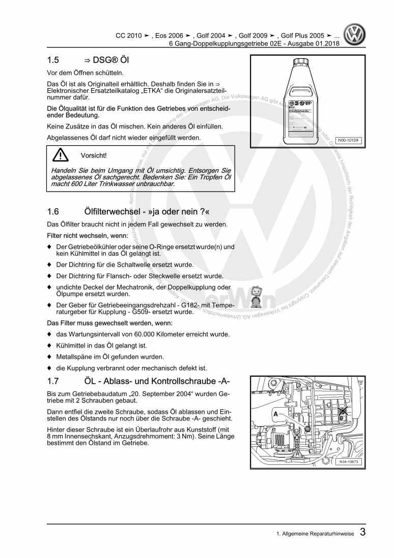 Beispielseite 2 für Reparaturanleitung 6 Gang-Doppelkupplungsgetriebe 02E