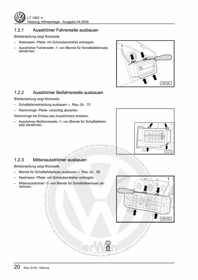 Beispielseite für Reparaturanleitung Heizung, Klimaanlage