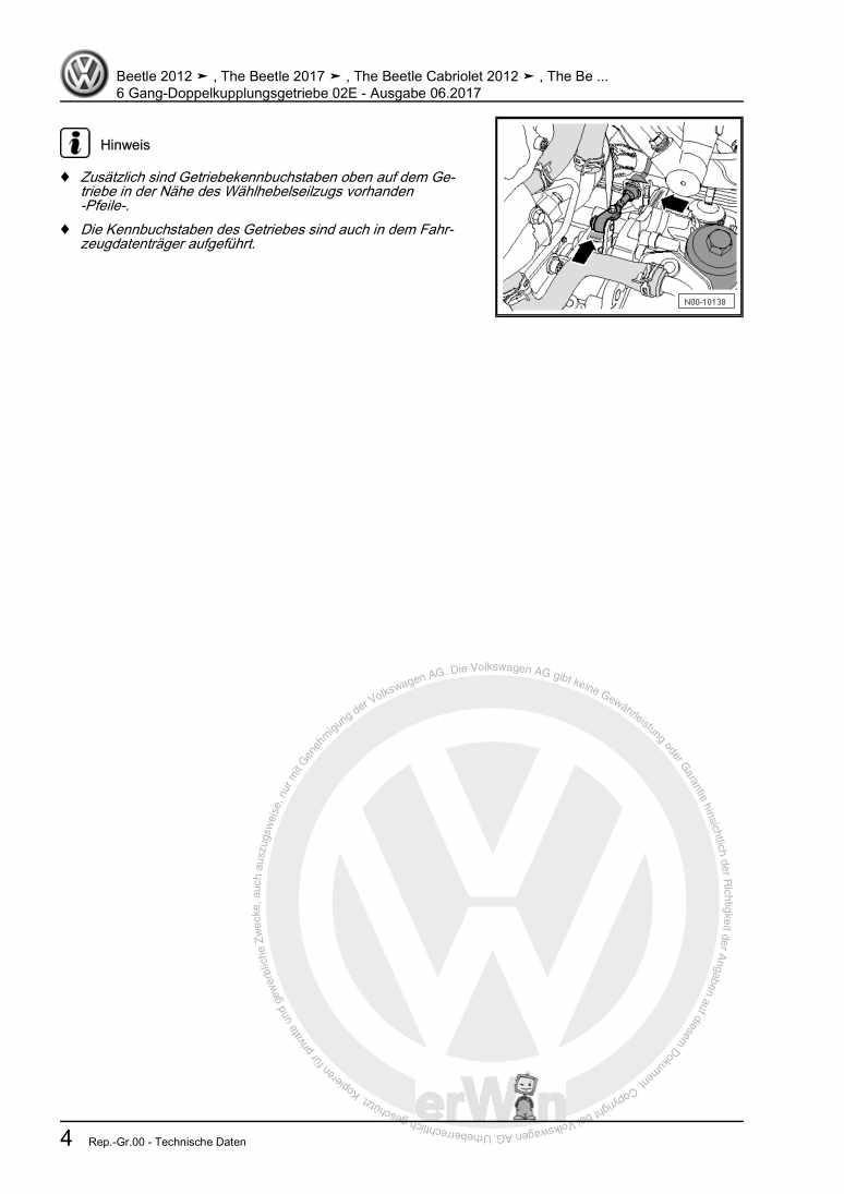 Beispielseite für Reparaturanleitung 6 Gang-Doppelkupplungsgetriebe 02E