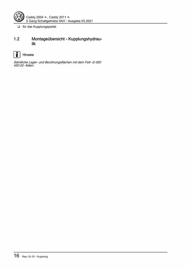 Beispielseite für Reparaturanleitung 5 Gang Schaltgetriebe 0AH
