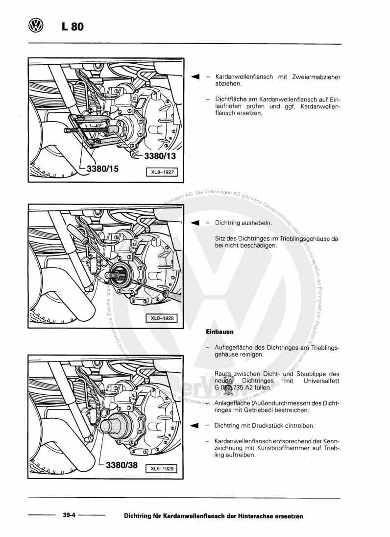 Beispielseite für Reparaturanleitung Hinterachse mit Sperrdifferenzial