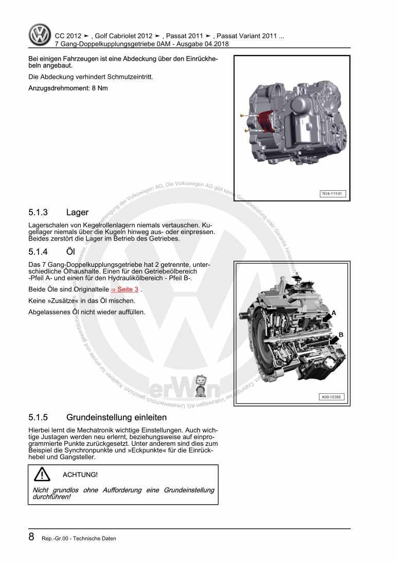 Beispielseite für Reparaturanleitung 7 Gang-Doppelkupplungsgetriebe 0AM