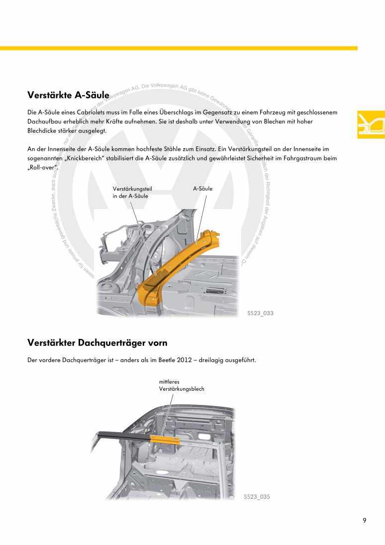 Beispielseite für Reparaturanleitung Nr. 523: Das Beetle Cabriolet 2013
