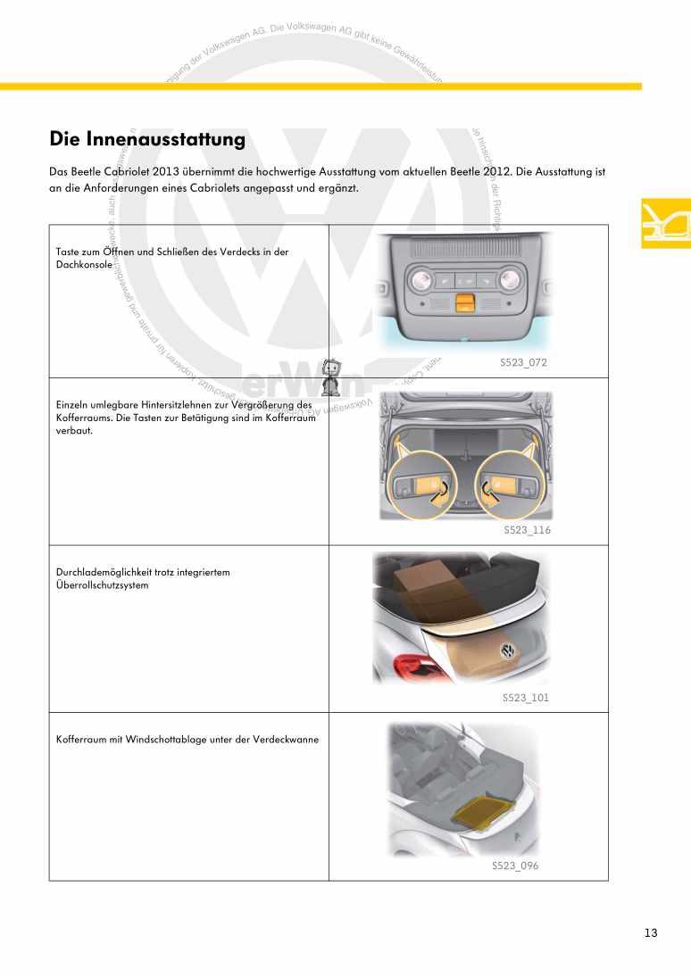 Beispielseite 2 für Reparaturanleitung Nr. 523: Das Beetle Cabriolet 2013