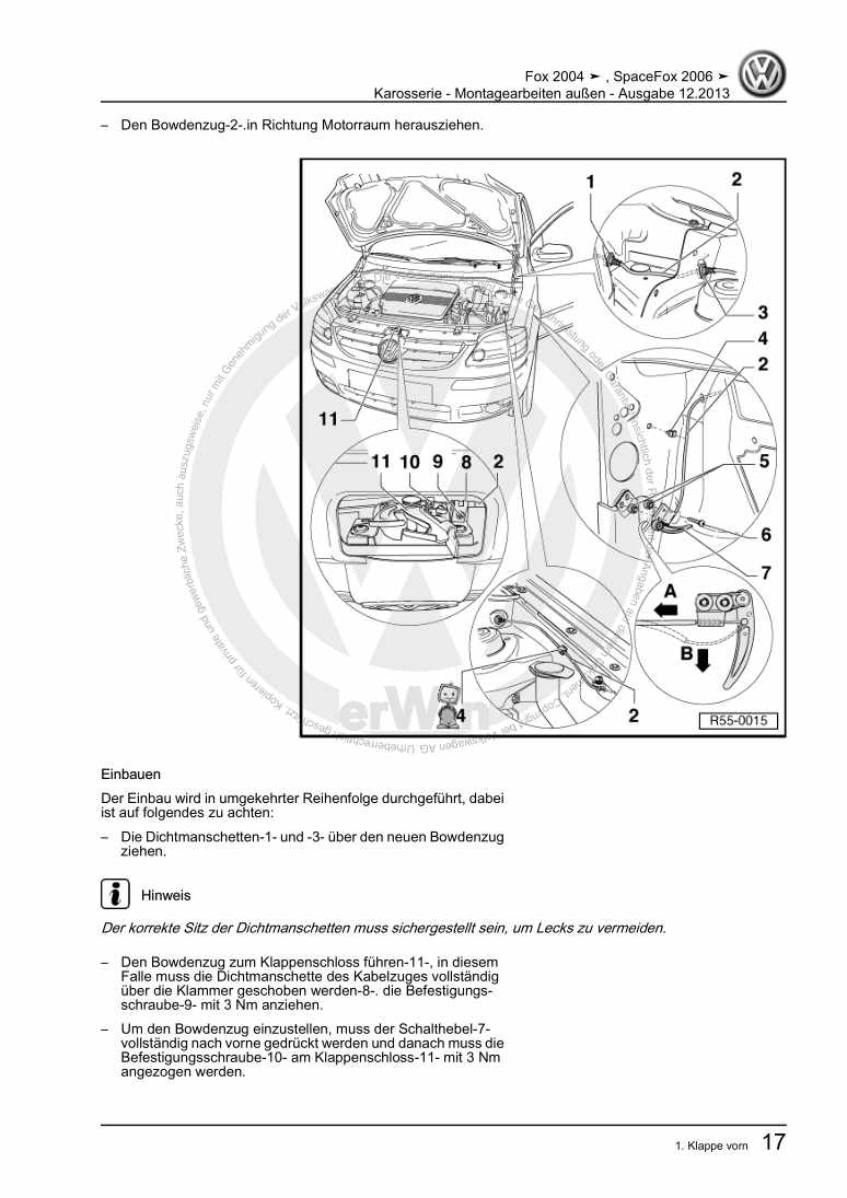 Beispielseite für Reparaturanleitung Karosserie - Montagearbeiten außen