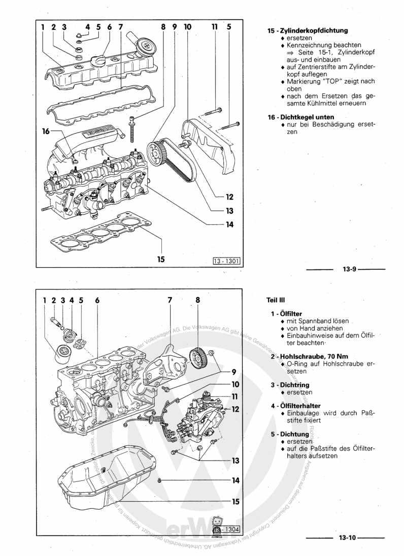 Beispielseite für Reparaturanleitung 5-Zylinder-Dieselmotor (2,4l Motor) 074.Y / ACP