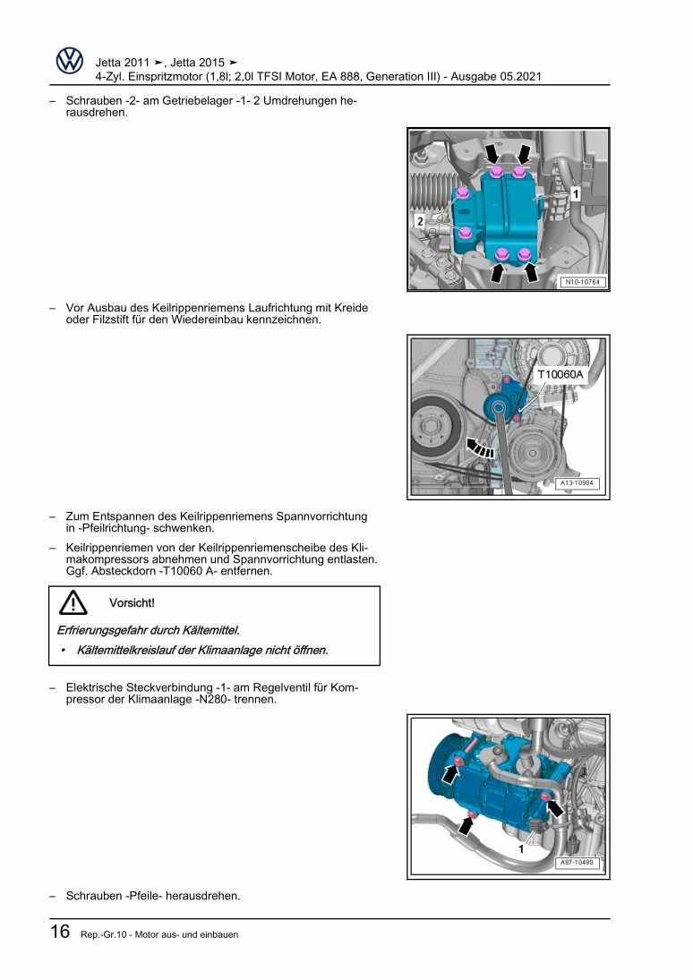Beispielseite 2 für Reparaturanleitung 4-Zyl. Einspritzmotor (1,8l; 2,0l TFSI Motor, EA 888, Generation III)