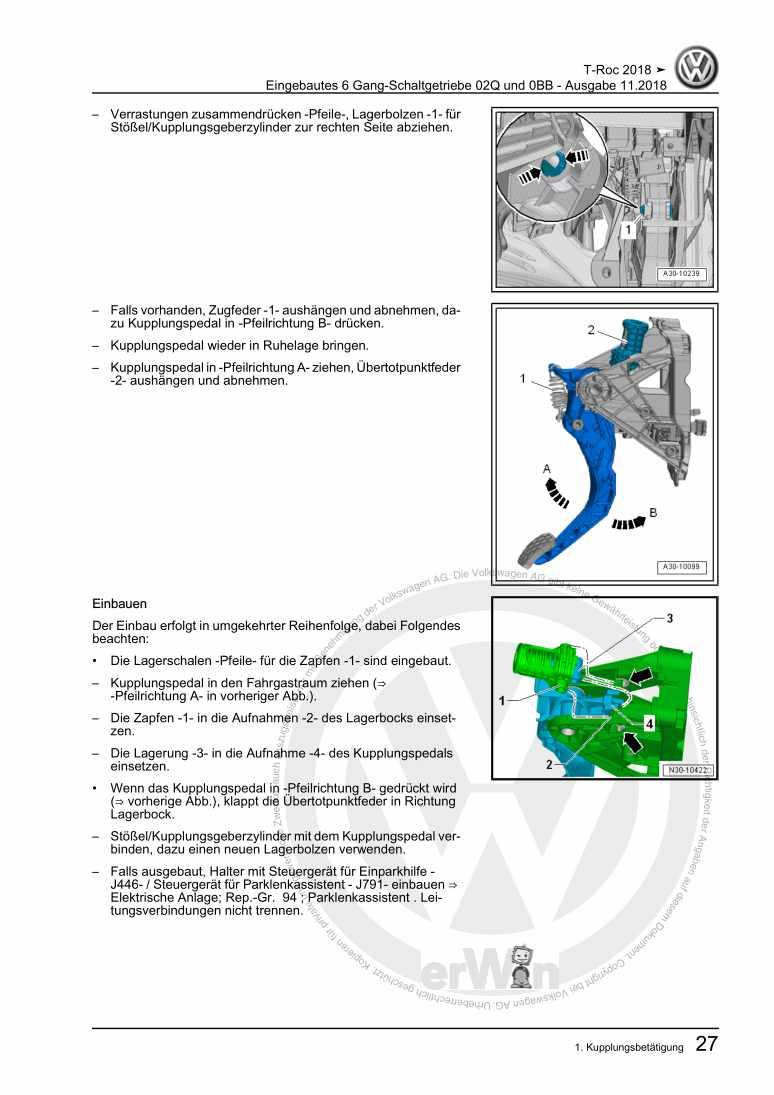 Beispielseite 2 für Reparaturanleitung Eingebautes 6 Gang-Schaltgetriebe 02Q und 0BB