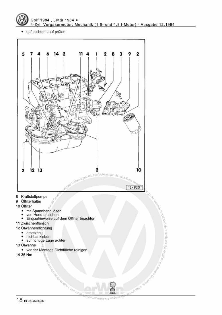 Beispielseite für Reparaturanleitung 4-Zyl. Vergasermotor, Mechanik (1,6- und 1,8 l-Motor)