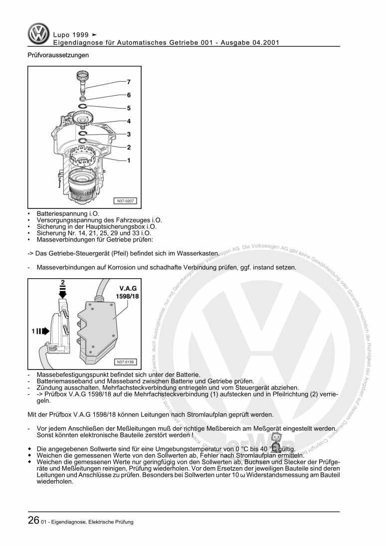 Beispielseite für Reparaturanleitung Eigendiagnose für Automatisches Getriebe 001