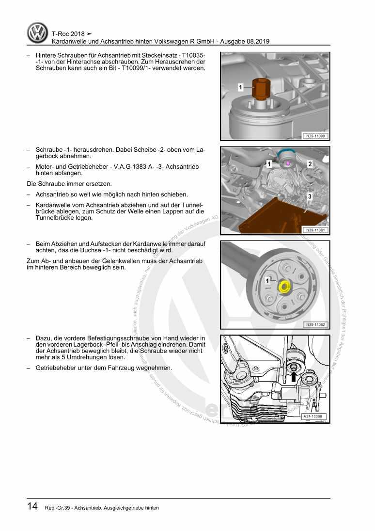 Beispielseite für Reparaturanleitung Kardanwelle und Achsantrieb hinten Volkswagen R GmbH