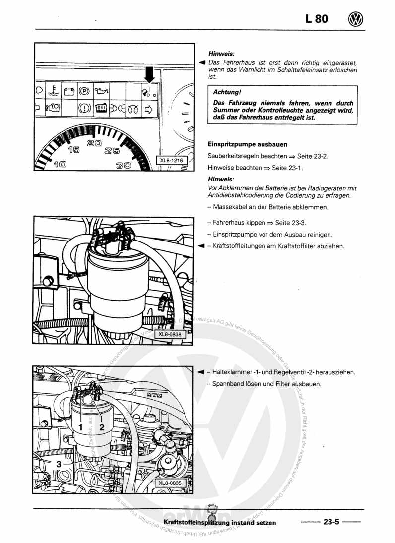 Beispielseite für Reparaturanleitung Diesel Direkteinspritz- und Vorglühanlage AGF