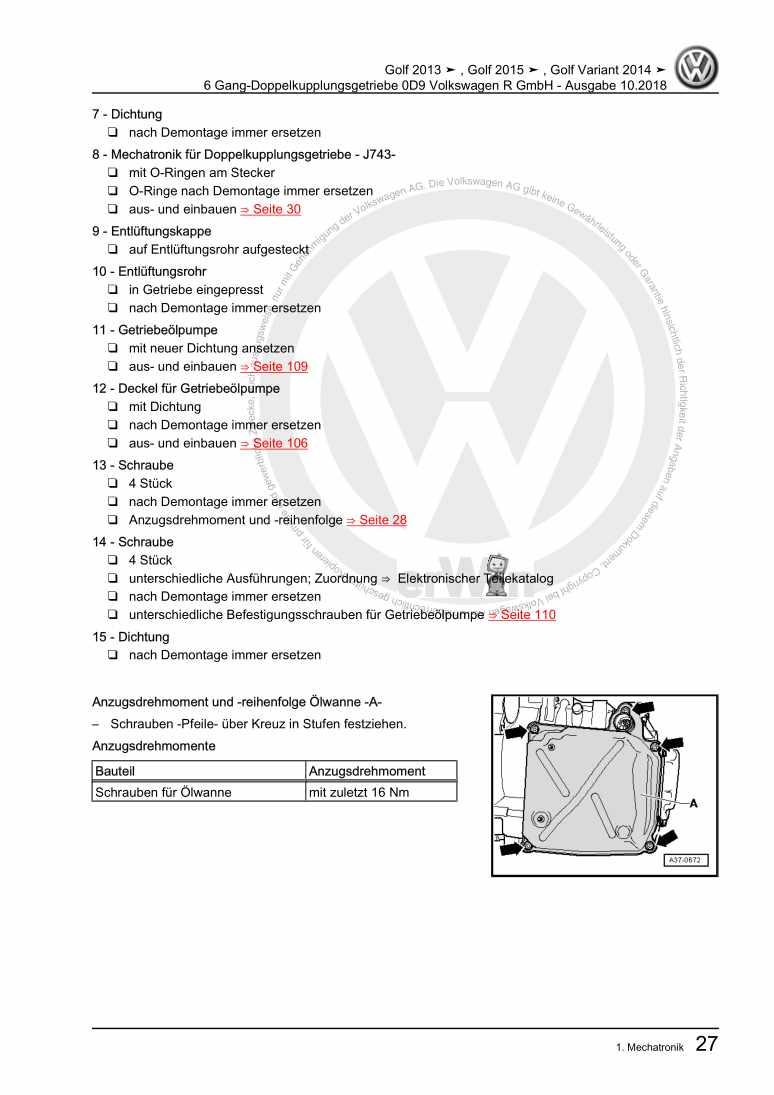 Beispielseite für Reparaturanleitung 6 Gang-Doppelkupplungsgetriebe 0D9 Volkswagen R GmbH
