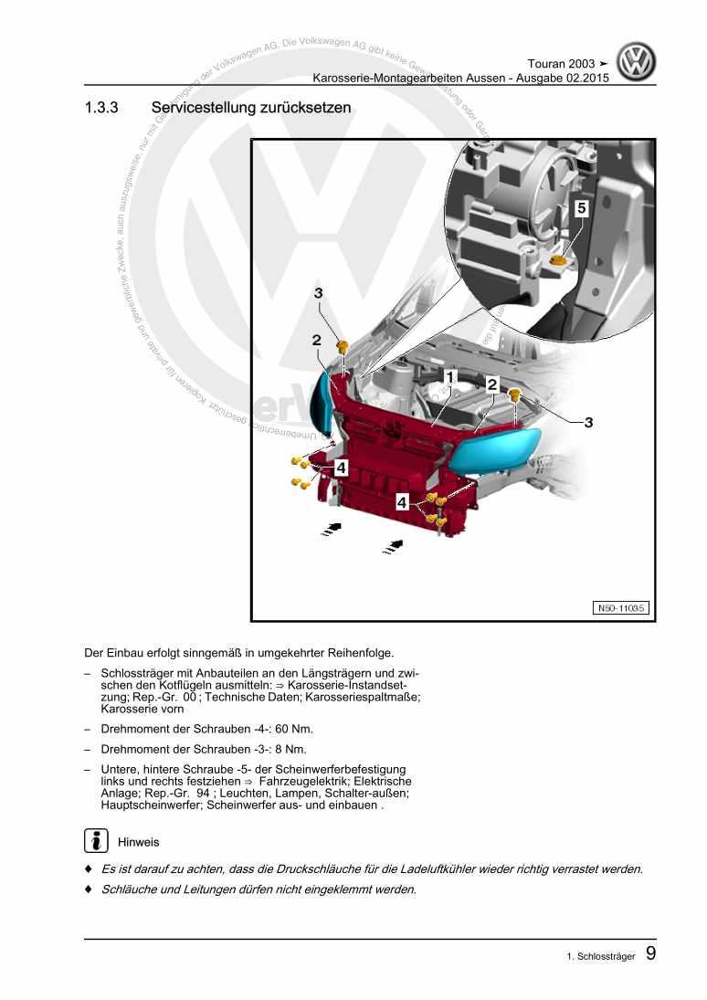 Beispielseite für Reparaturanleitung Karosserie-Montagearbeiten Aussen