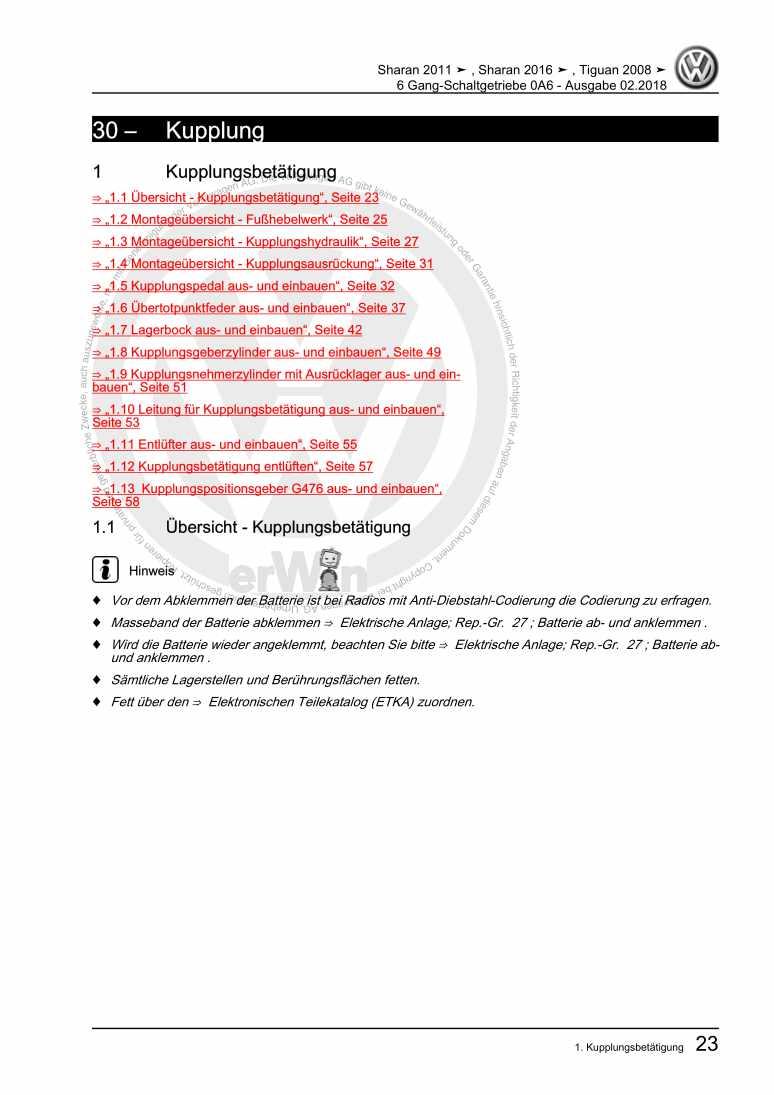 Beispielseite für Reparaturanleitung 6 Gang-Schaltgetriebe 0A6