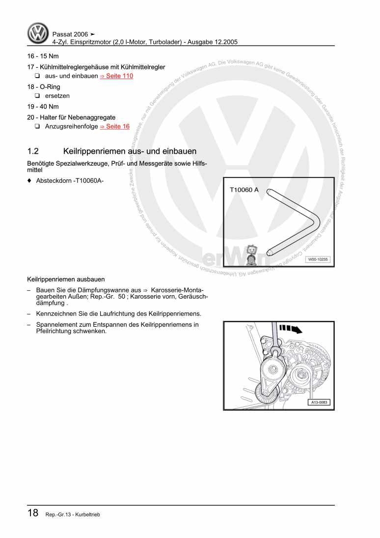 Beispielseite für Reparaturanleitung 4-Zyl. Einspritzmotor (2,0 l-Motor, Turbolader)