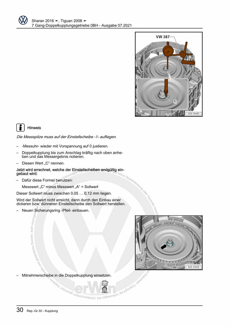 Beispielseite für Reparaturanleitung 7 Gang-Doppelkupplungsgetriebe 0BH