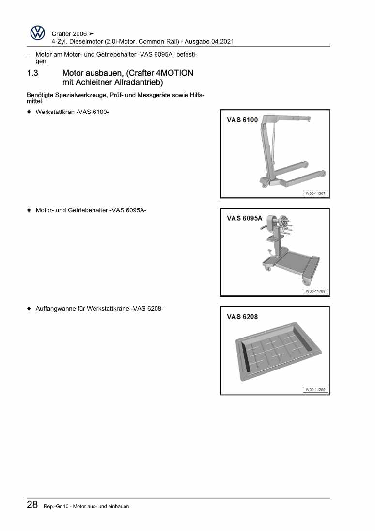 Beispielseite für Reparaturanleitung 4-Zyl. Dieselmotor (2,0l-Motor, Common-Rail)