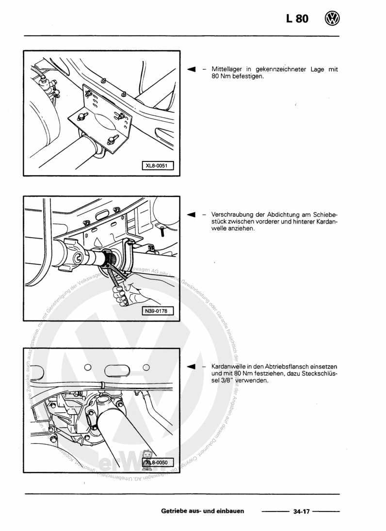 Beispielseite für Reparaturanleitung 5-Gang-Schaltgetriebe
