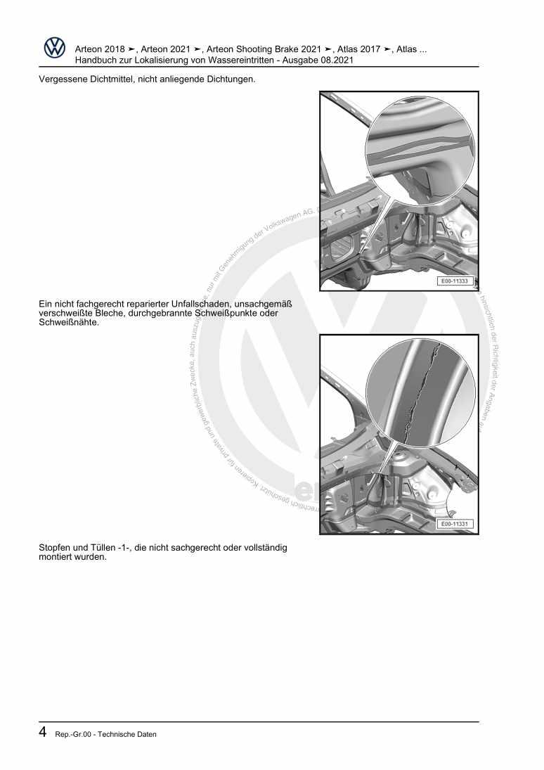 Beispielseite für Reparaturanleitung Handbuch zur Lokalisierung von Wassereintritten