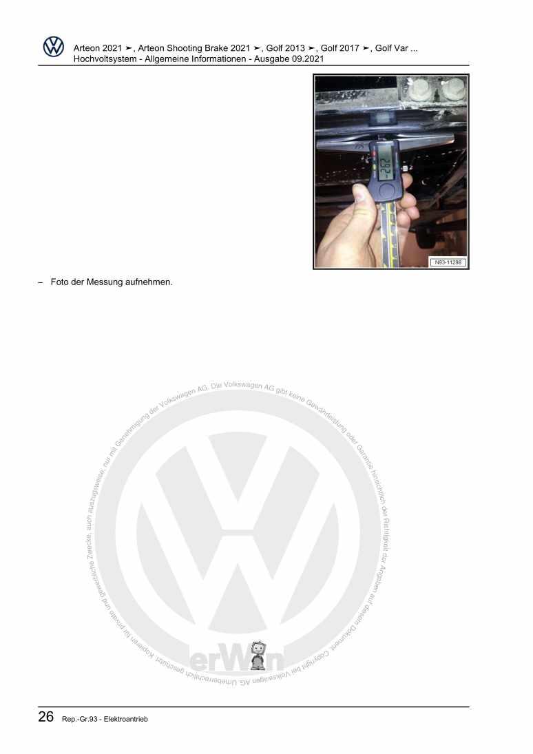 Beispielseite für Reparaturanleitung Hochvoltsystem - Allgemeine Informationen