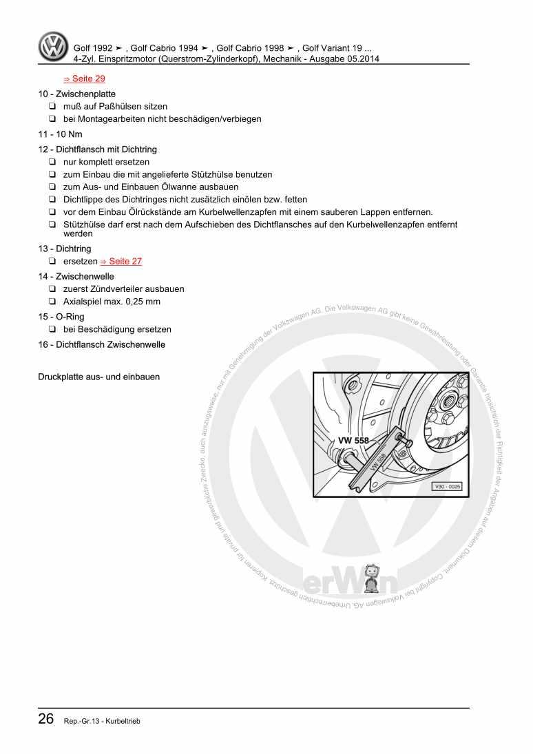 Beispielseite 2 für Reparaturanleitung 4-Zyl. Einspritzmotor (Querstrom-Zylinderkopf), Mechanik