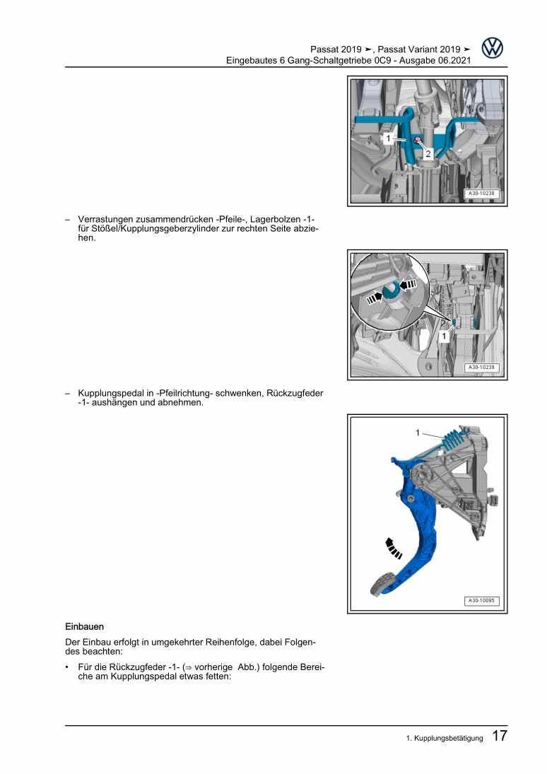 Beispielseite 2 für Reparaturanleitung Eingebautes 6 Gang-Schaltgetriebe 0C9