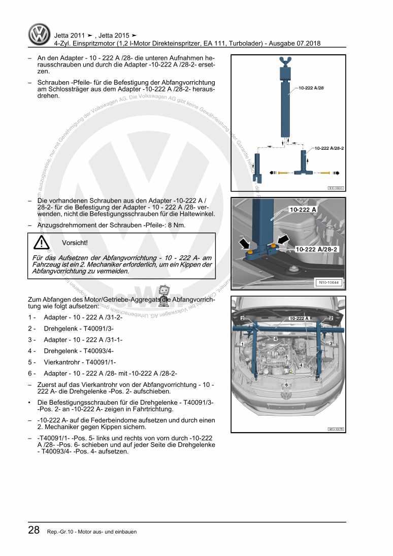 Beispielseite für Reparaturanleitung 4-Zyl. Einspritzmotor (1,2 l-Motor Direkteinspritzer, EA 111, Turbolader)