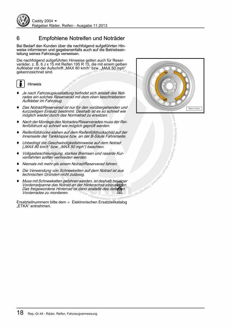 Beispielseite für Reparaturanleitung Ratgeber Räder, Reifen