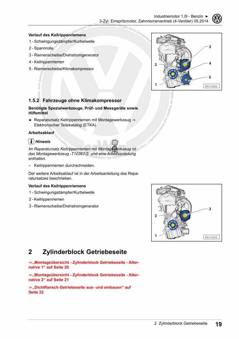 Beispielseite 2 für Reparaturanleitung 3-Zyl. Einspritzmotor, Zahnriemenantrieb (4-Ventiler)CZKA