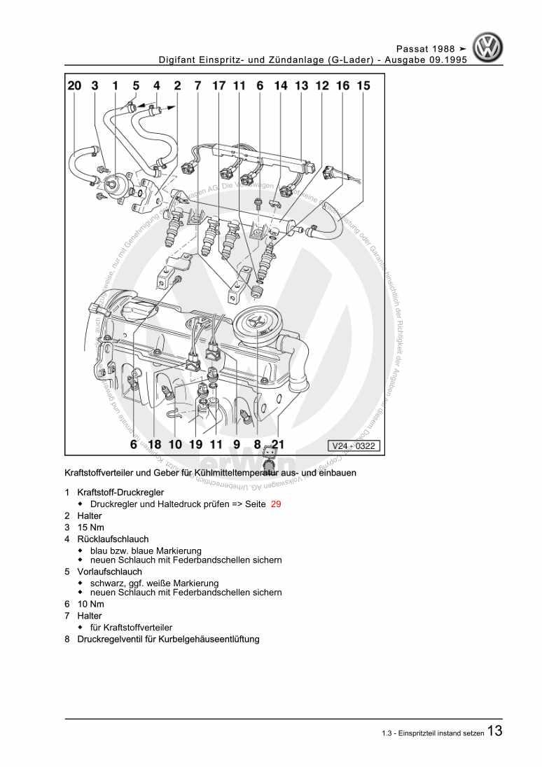 Beispielseite für Reparaturanleitung Digifant Einspritz- und Zündanlage (G-Lader)
