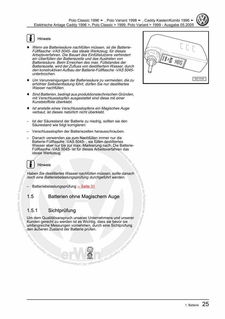 Beispielseite für Reparaturanleitung Elektrische Anlage Caddy 1996 >, Polo Classic > 1999, Polo Variant > 1999