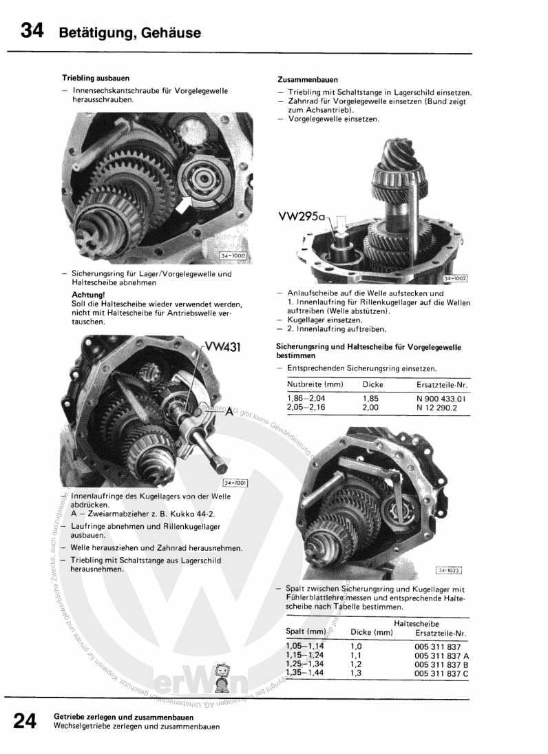 Beispielseite für Reparaturanleitung Schaltgetriebe 005 u. Achsantrieb