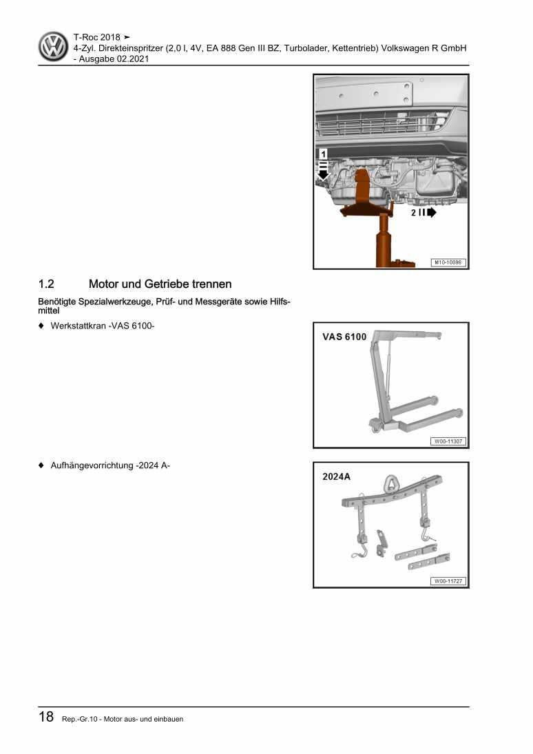 Beispielseite für Reparaturanleitung 4-Zyl. Direkteinspritzer (2,0 l, 4V, EA 888 Gen III BZ, Turbolader, Kettentrieb) Volkswagen R GmbH