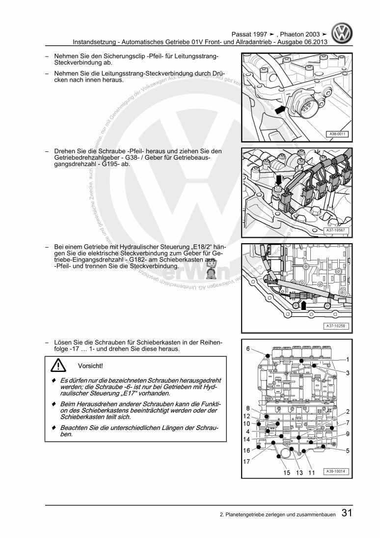 Beispielseite 2 für Reparaturanleitung Instandsetzung - Automatisches Getriebe 01V Front- und Allradantrieb
