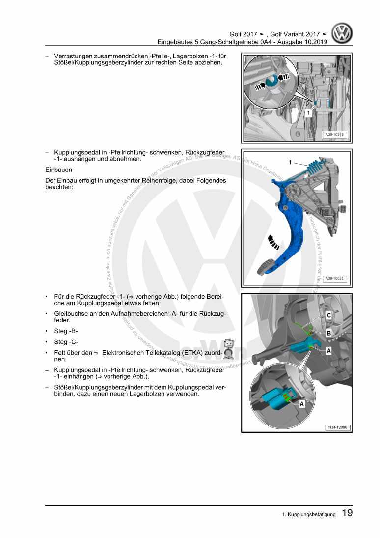 Beispielseite für Reparaturanleitung Eingebautes 5 Gang-Schaltgetriebe 0A4