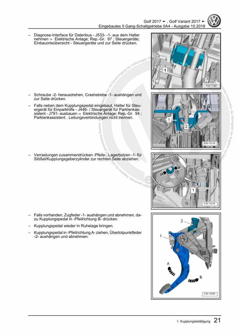 Beispielseite 2 für Reparaturanleitung Eingebautes 5 Gang-Schaltgetriebe 0A4