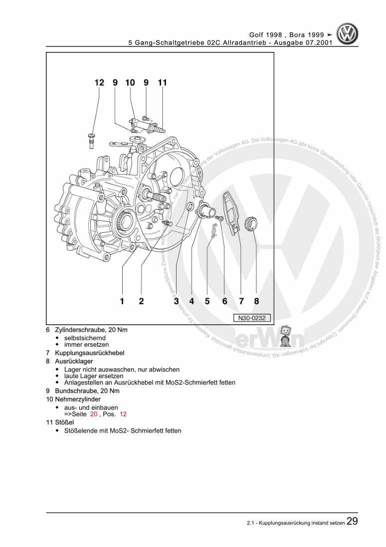 Beispielseite für Reparaturanleitung 5 Gang-Schaltgetriebe 02C Allradantrieb